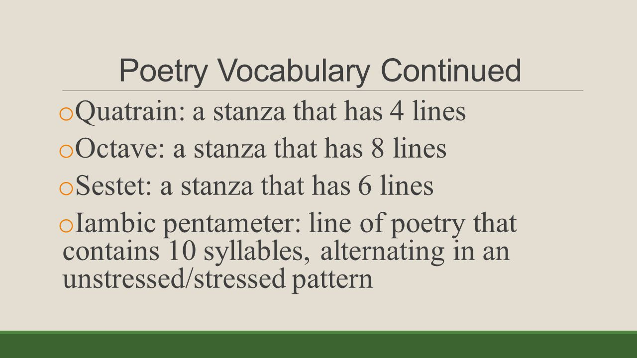 Poetry Vocabulary Continued