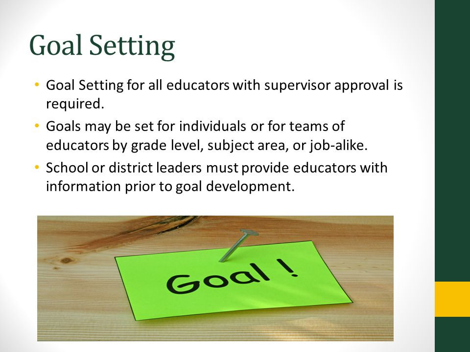 Goal Setting Goal Setting for all educators with supervisor approval is required.