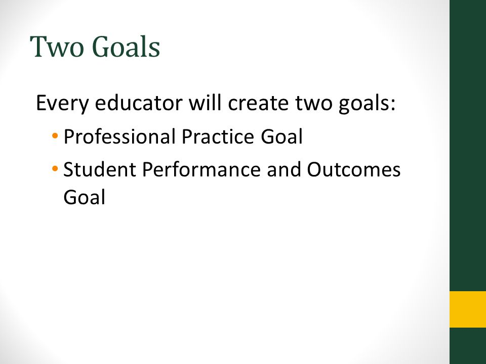 Two Goals Every educator will create two goals: