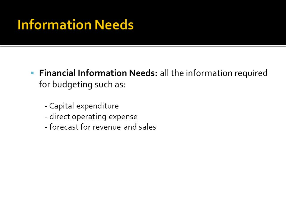 Information Needs Financial Information Needs: all the information required for budgeting such as: - Capital expenditure.