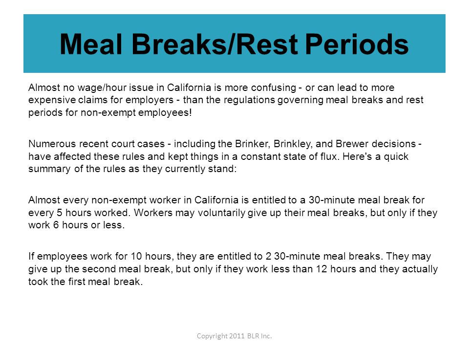 Meal Breaks Rest Periods