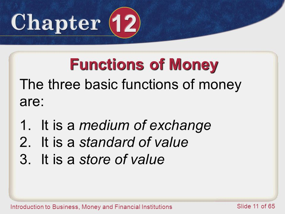 Functions of Money The three basic functions of money are:
