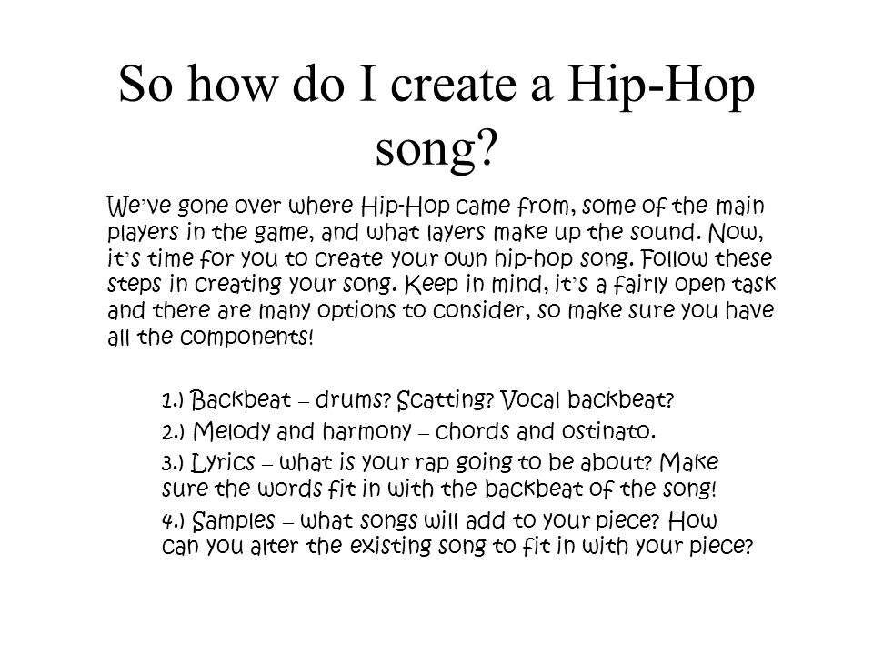 Lyric make your own lyrics : History of Hip-Hop So you think you know hip-hop? Have you even ...