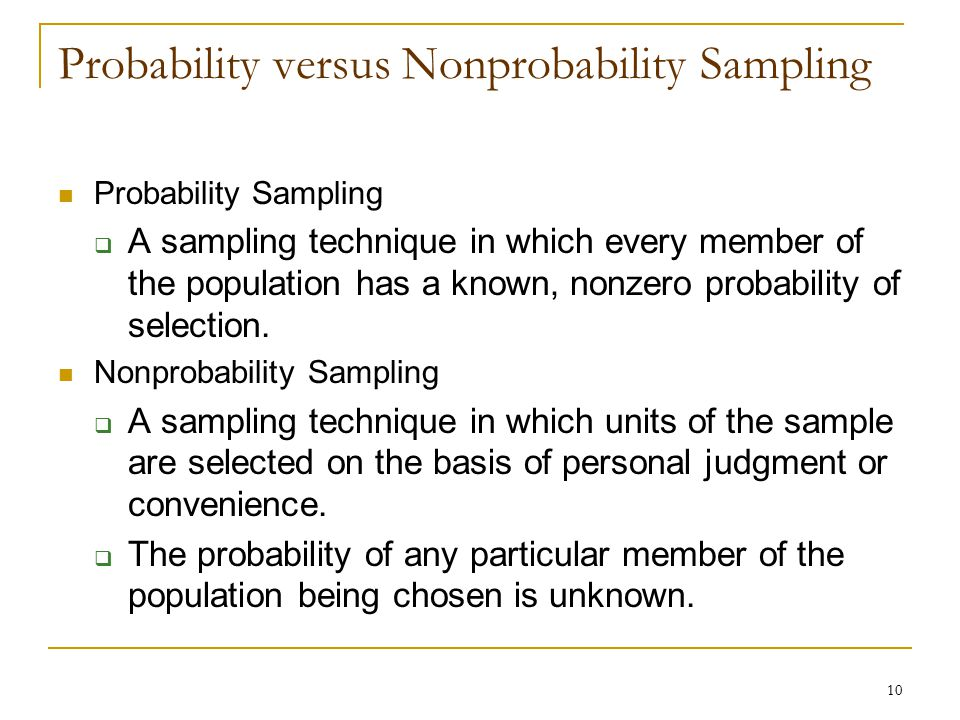 Probability versus Nonprobability Sampling