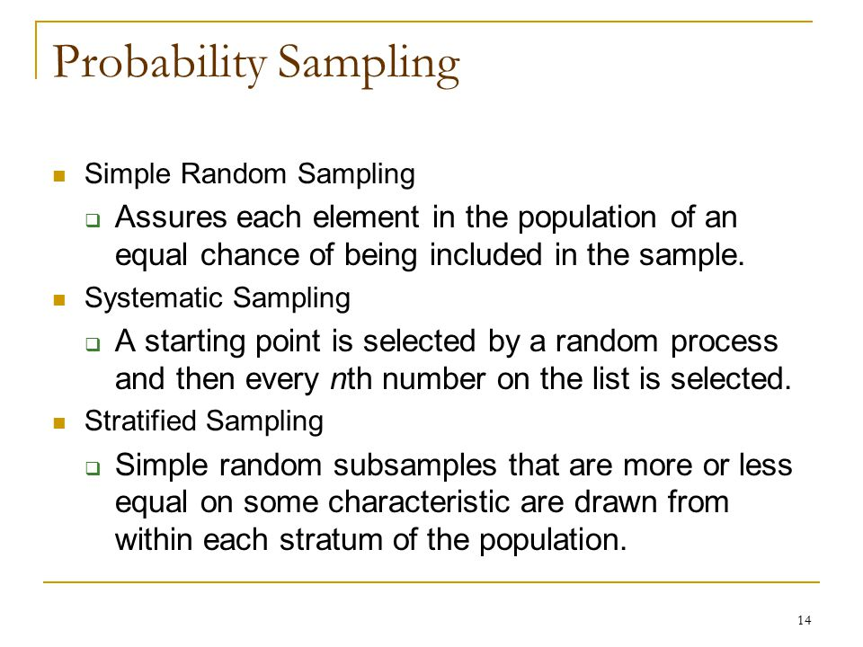Probability Sampling Simple Random Sampling. Assures each element in the population of an equal chance of being included in the sample.