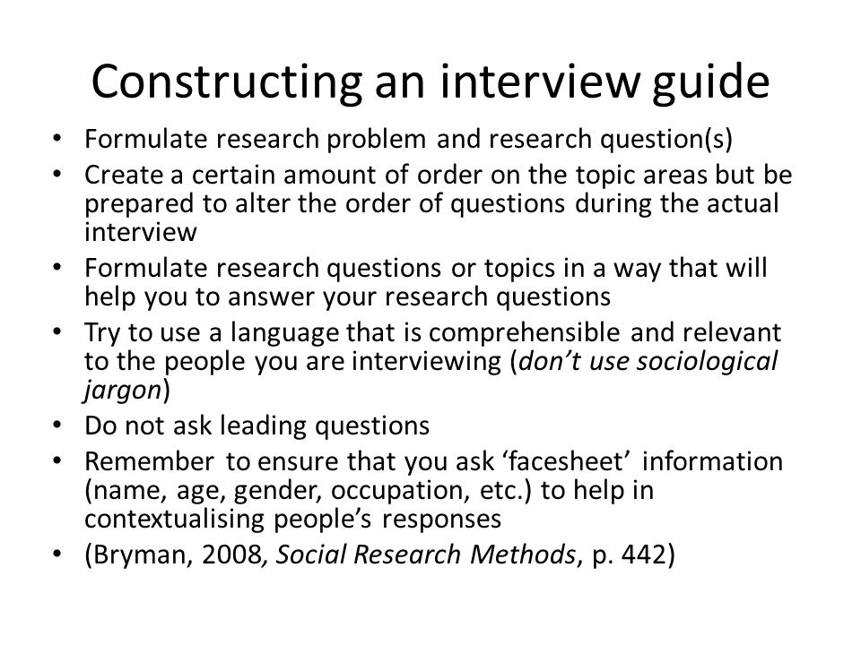 II. Qualitative Research Methods Week 12: Interviewing - ppt video ...