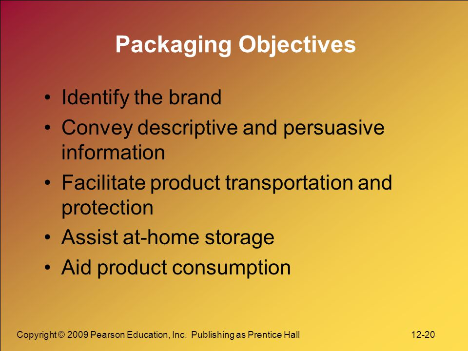 Packaging Objectives Identify the brand