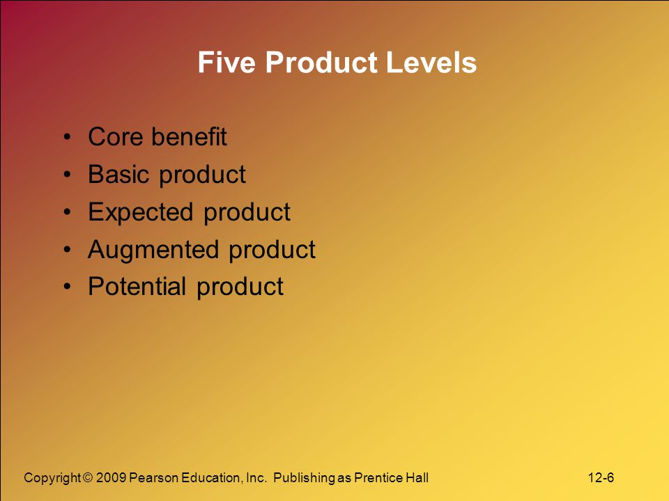 Five Product Levels Core benefit Basic product Expected product