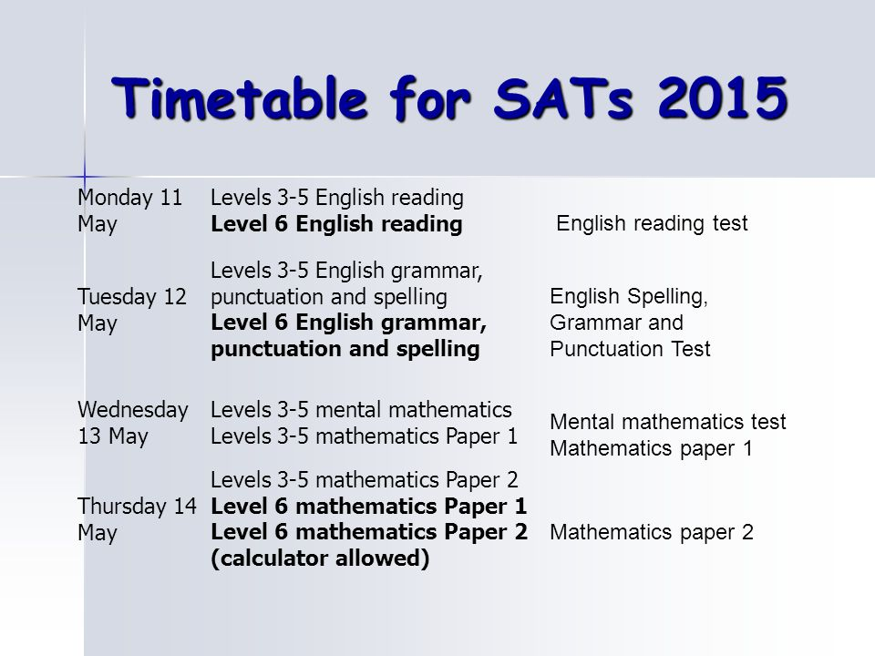 Timetable for SATs 2015 Monday 11 May Levels 3-5 English reading