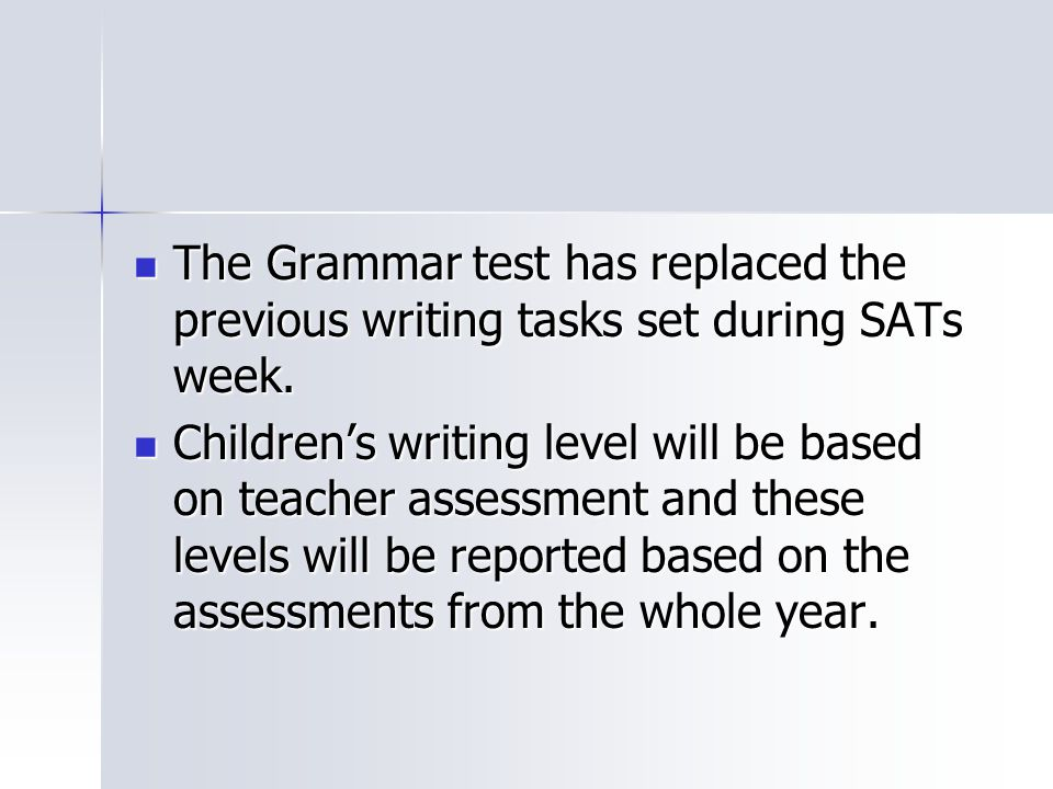 The Grammar test has replaced the previous writing tasks set during SATs week.