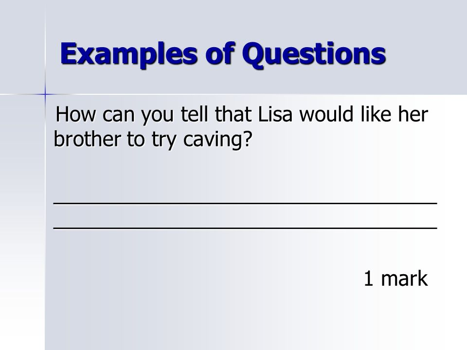 Examples of Questions How can you tell that Lisa would like her brother to try caving