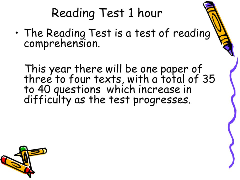 Reading Test 1 hour The Reading Test is a test of reading comprehension.