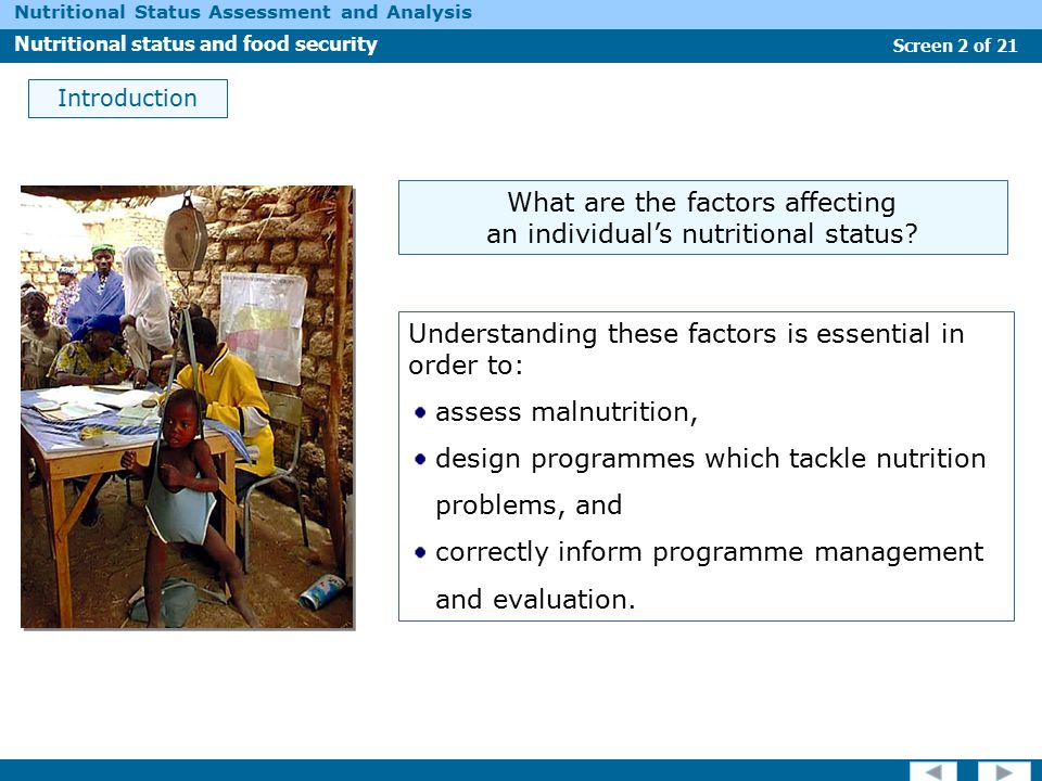 What are the factors affecting an individual's nutritional status