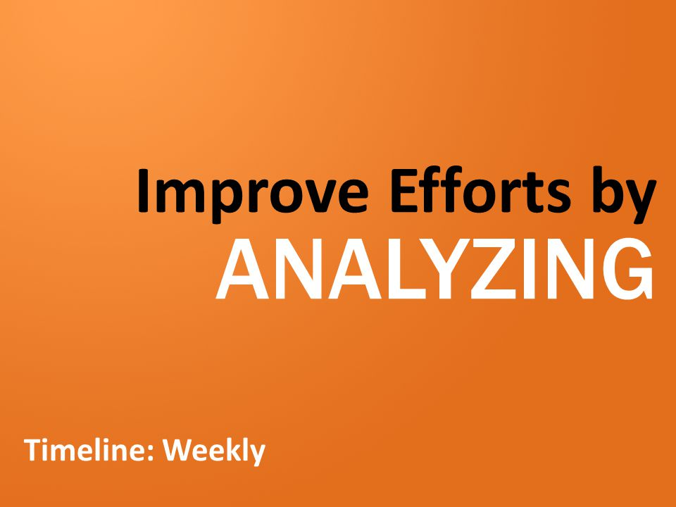 Improve Efforts by ANALYZING