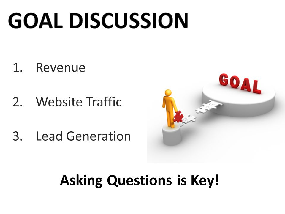 GOAL DISCUSSION Asking Questions is Key! Revenue Website Traffic