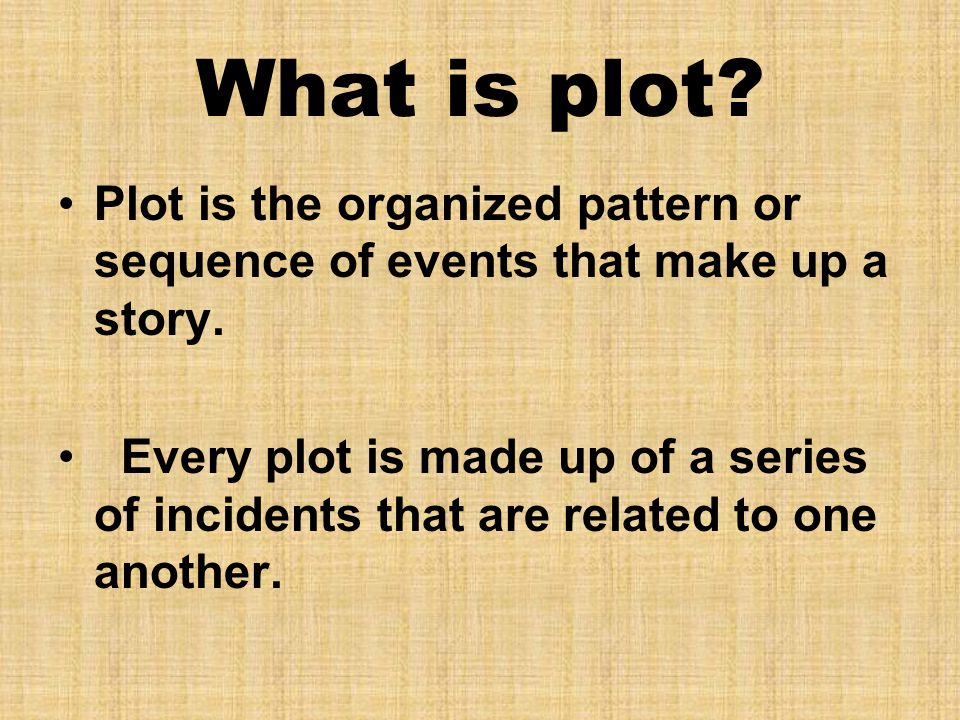 What is plot Plot is the organized pattern or sequence of events that make up a story.