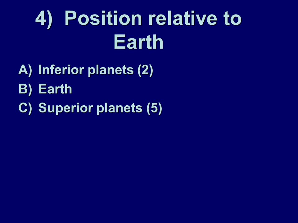 4) Position relative to Earth
