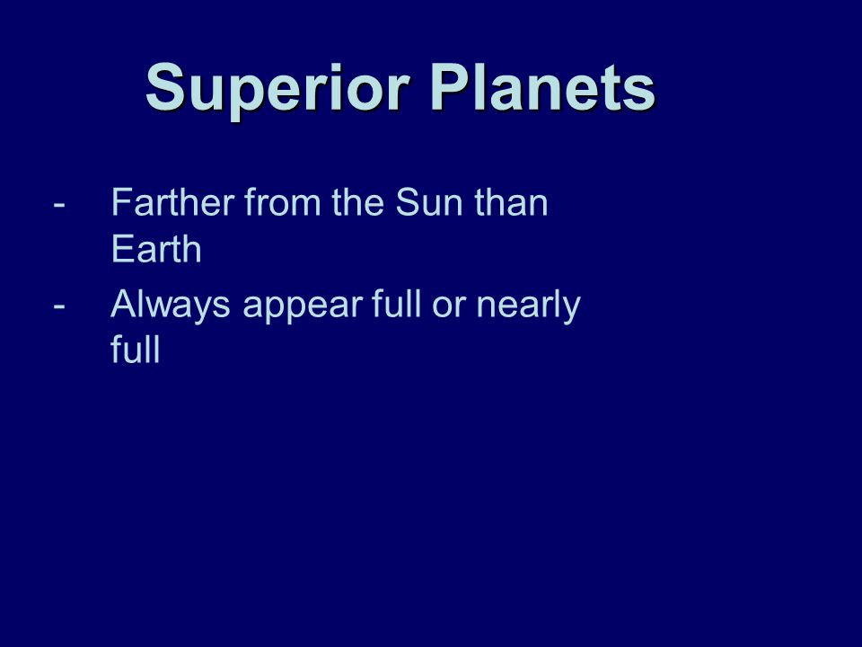 Superior Planets Farther from the Sun than Earth