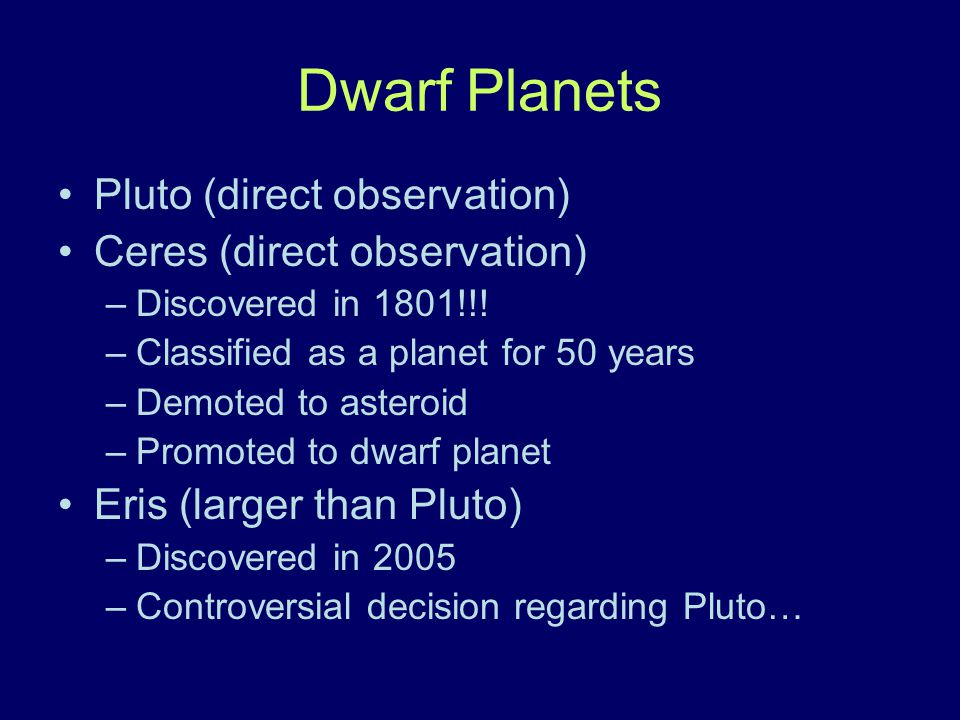 Dwarf Planets Pluto (direct observation) Ceres (direct observation)