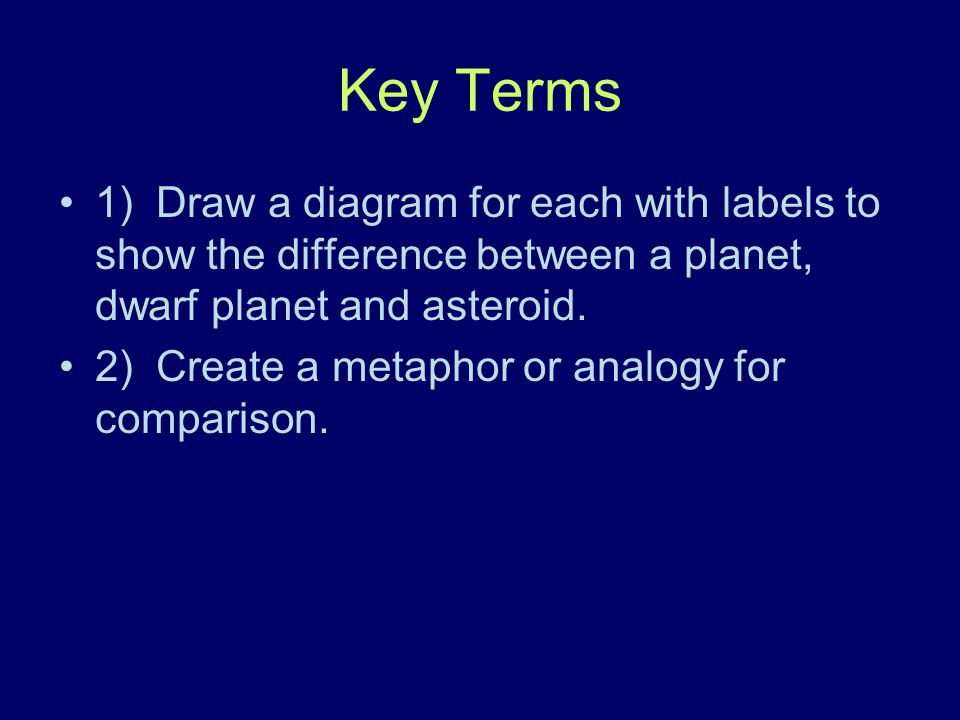 Key Terms 1) Draw a diagram for each with labels to show the difference between a planet, dwarf planet and asteroid.