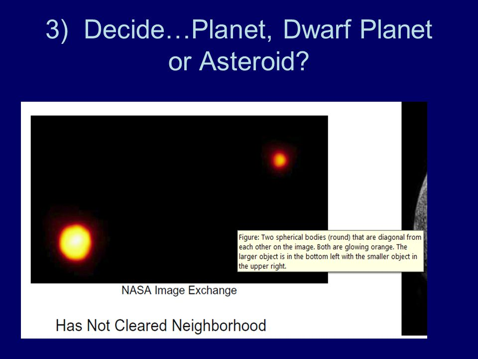 3) Decide…Planet, Dwarf Planet or Asteroid