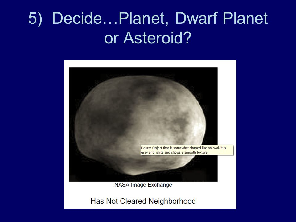 5) Decide…Planet, Dwarf Planet or Asteroid