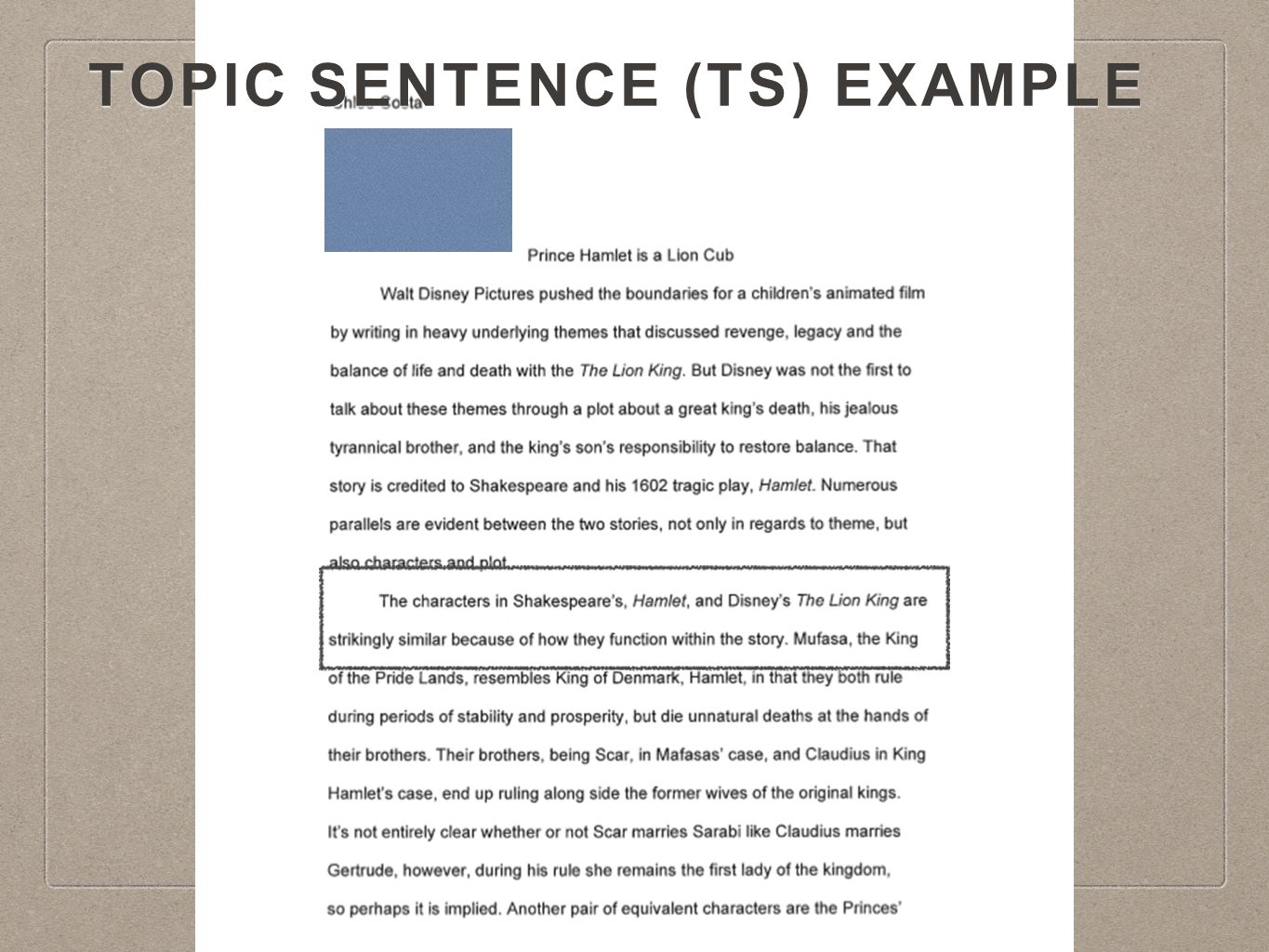 TOpic Sentence (TS) Example