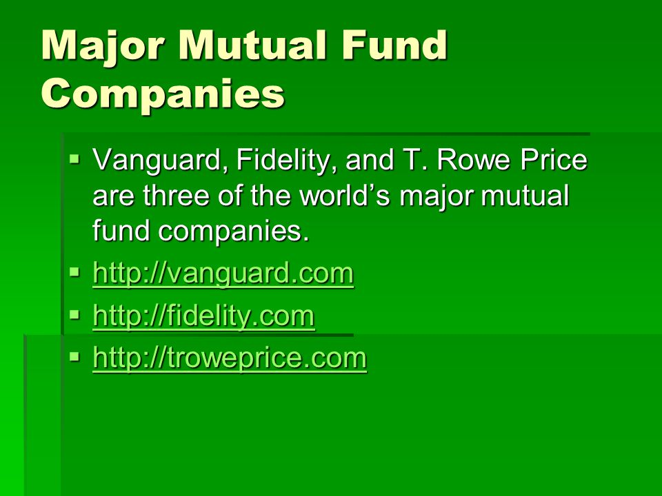 Major Mutual Fund Companies