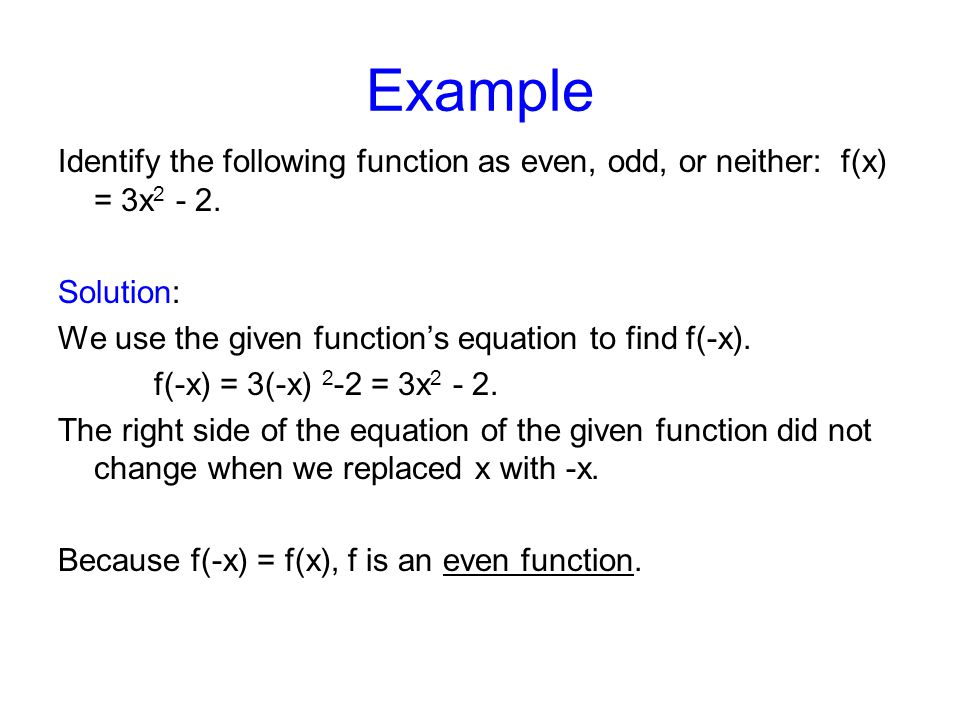 Even Function Example Equation