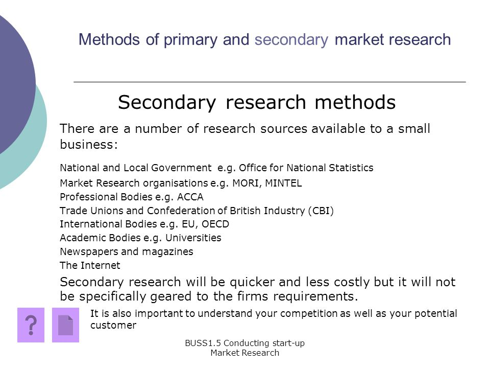 Methods and Types of Secondary Market Research