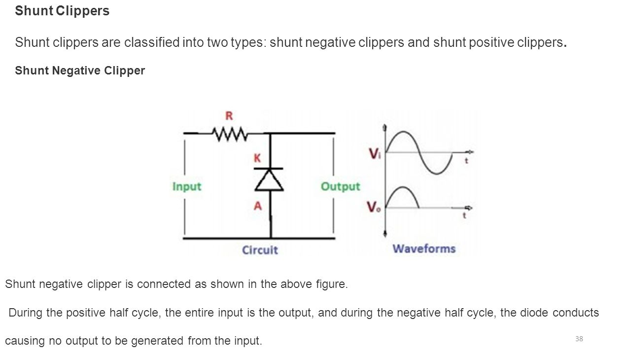 Diode Circuits Applications Ppt Download Waveform From Rectifier Circuit It Can Be Seen The 38 Shunt