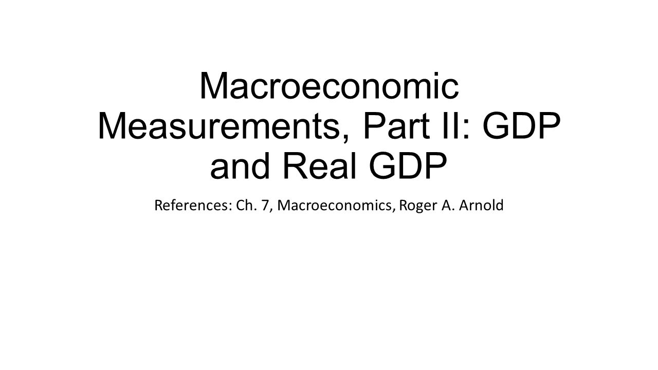 Macroeconomic Measurements, Part II: GDP and Real GDP