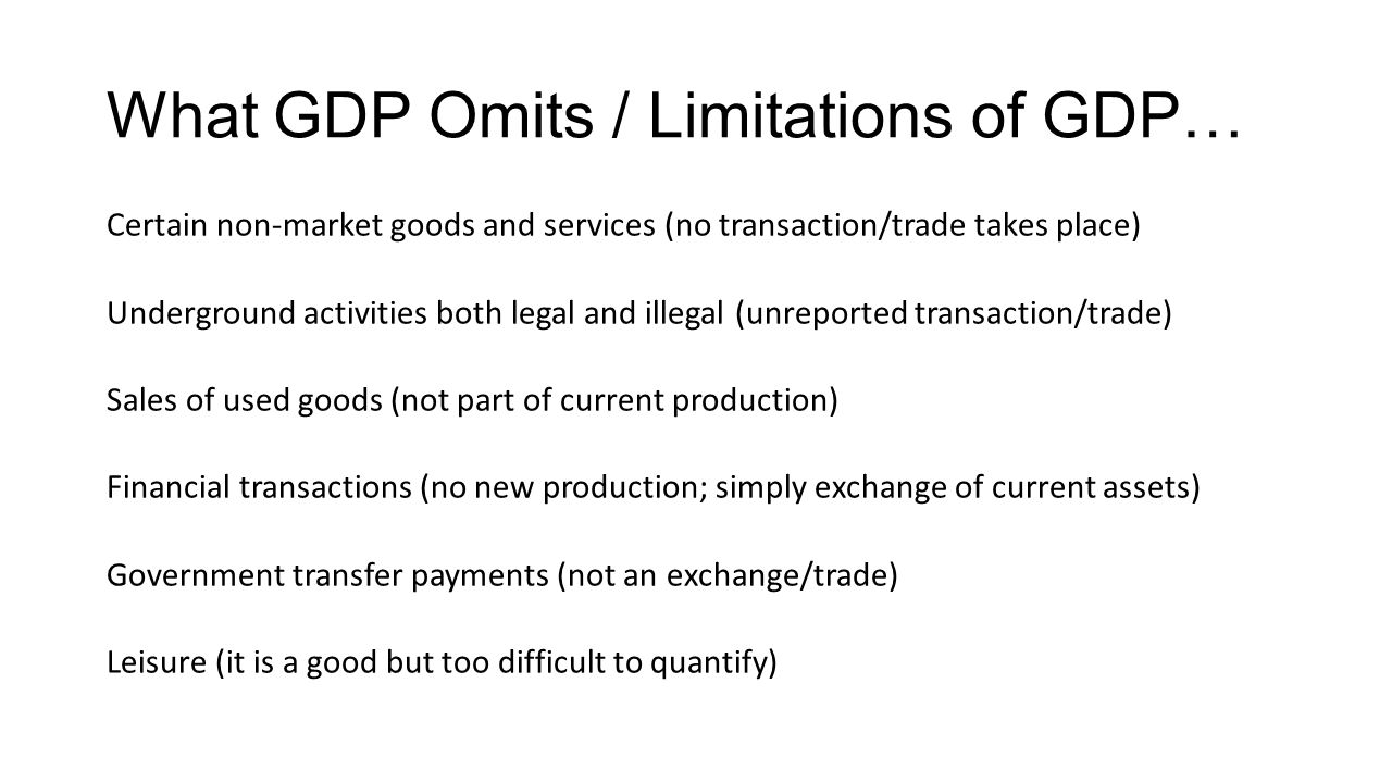 What GDP Omits / Limitations of GDP…