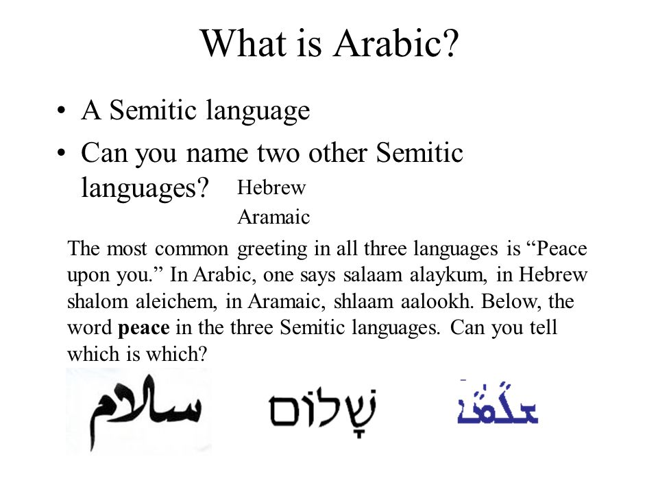 Arabic 101 in an hour or so ppt video online download what is arabic a semitic language m4hsunfo