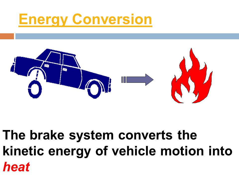 Energy Conversion The brake system converts the kinetic energy of vehicle motion into heat