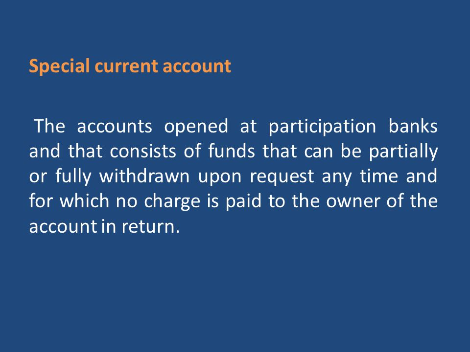Special current account