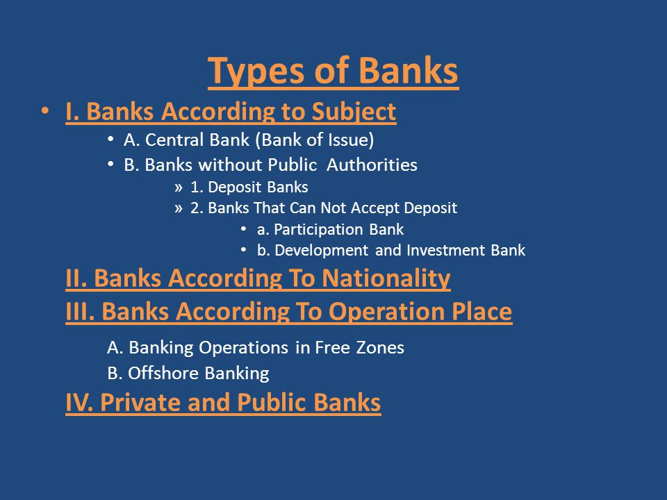 Types of Banks I. Banks According to Subject