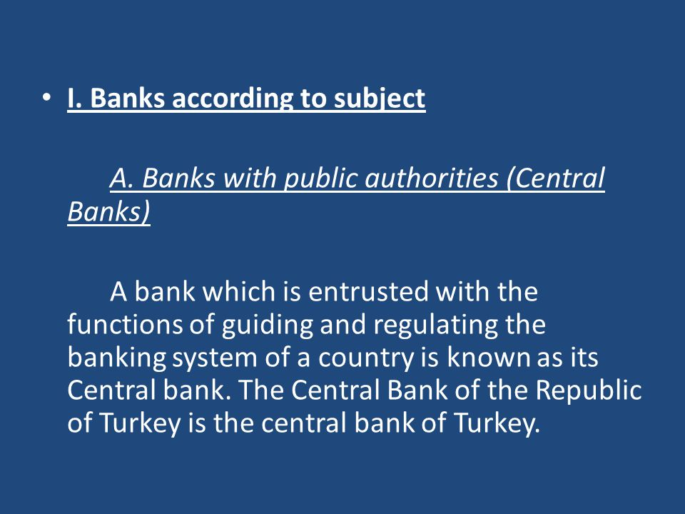 I. Banks according to subject