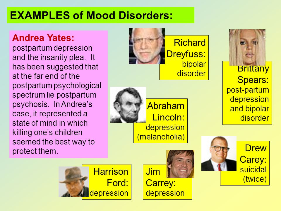 EXAMPLES of Mood Disorders: