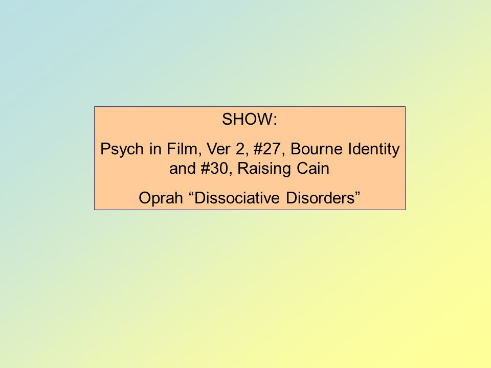 Psych in Film, Ver 2, #27, Bourne Identity and #30, Raising Cain