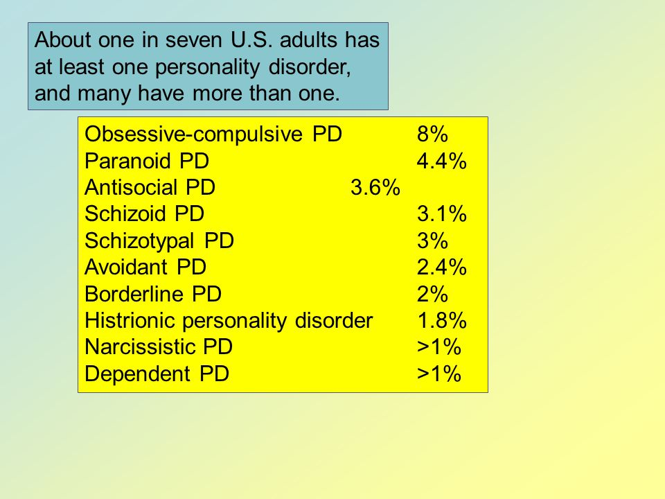 About one in seven U.S. adults has at least one personality disorder, and many have more than one.