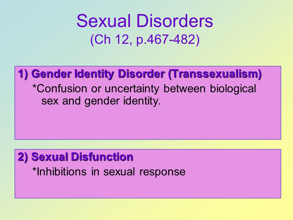 Sexual Disorders (Ch 12, p.467-482)
