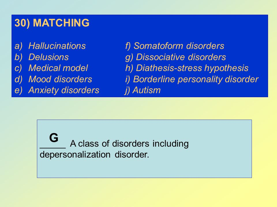 G 30) MATCHING Hallucinations f) Somatoform disorders