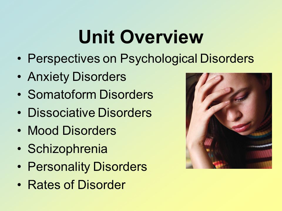 Unit Overview Perspectives on Psychological Disorders