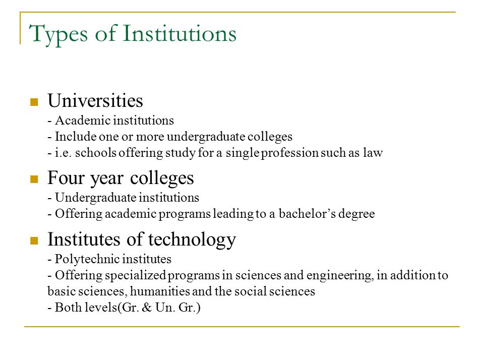 Types of Institutions