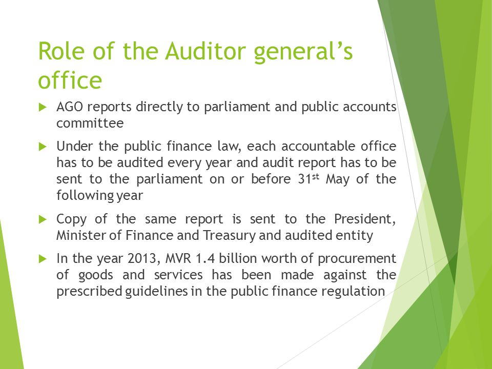 Role of the Auditor general's office