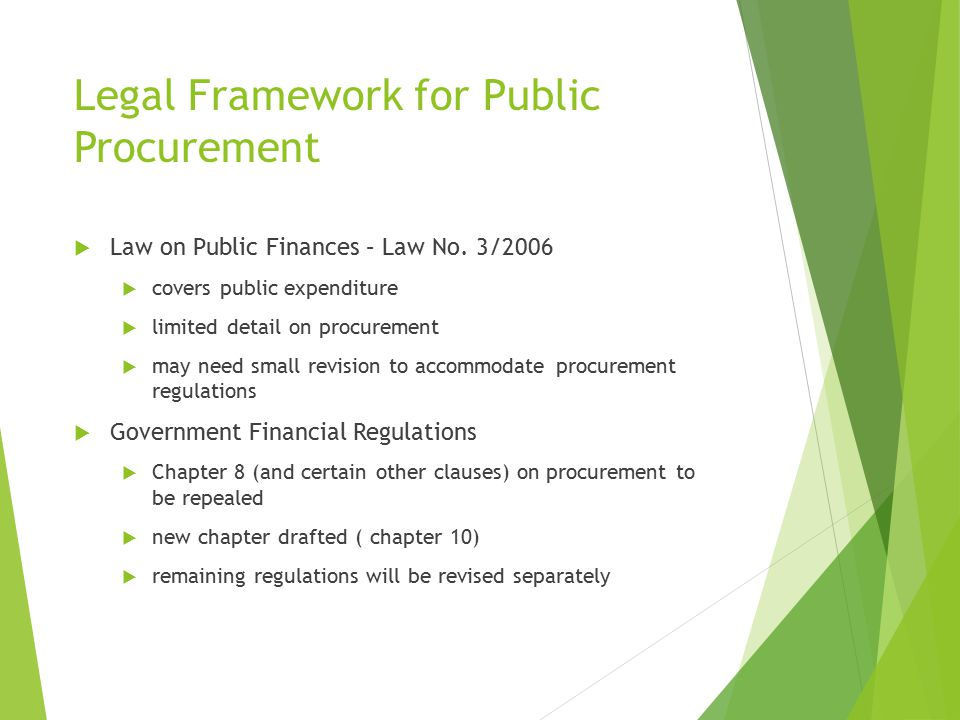 Legal Framework for Public Procurement