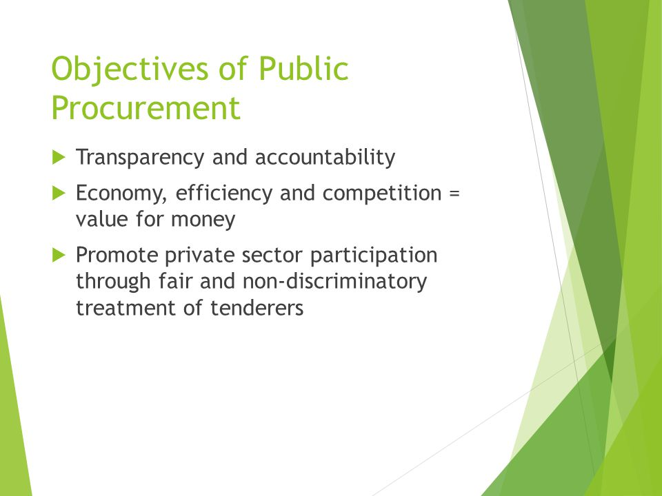 Objectives of Public Procurement