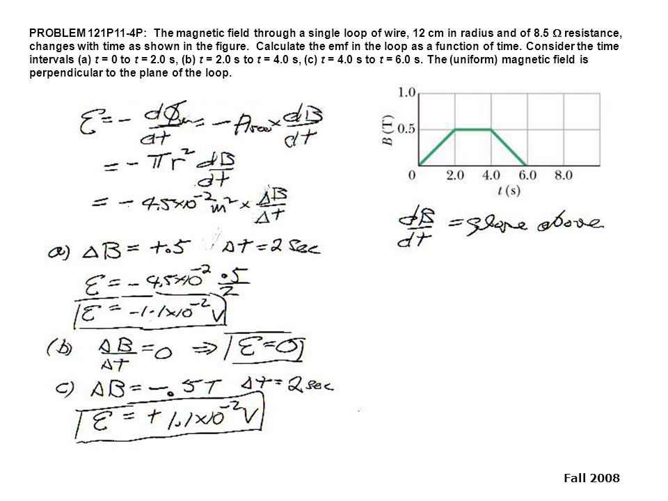 Physics 121 Practice Problem Solutions 11 Faraday's Law of