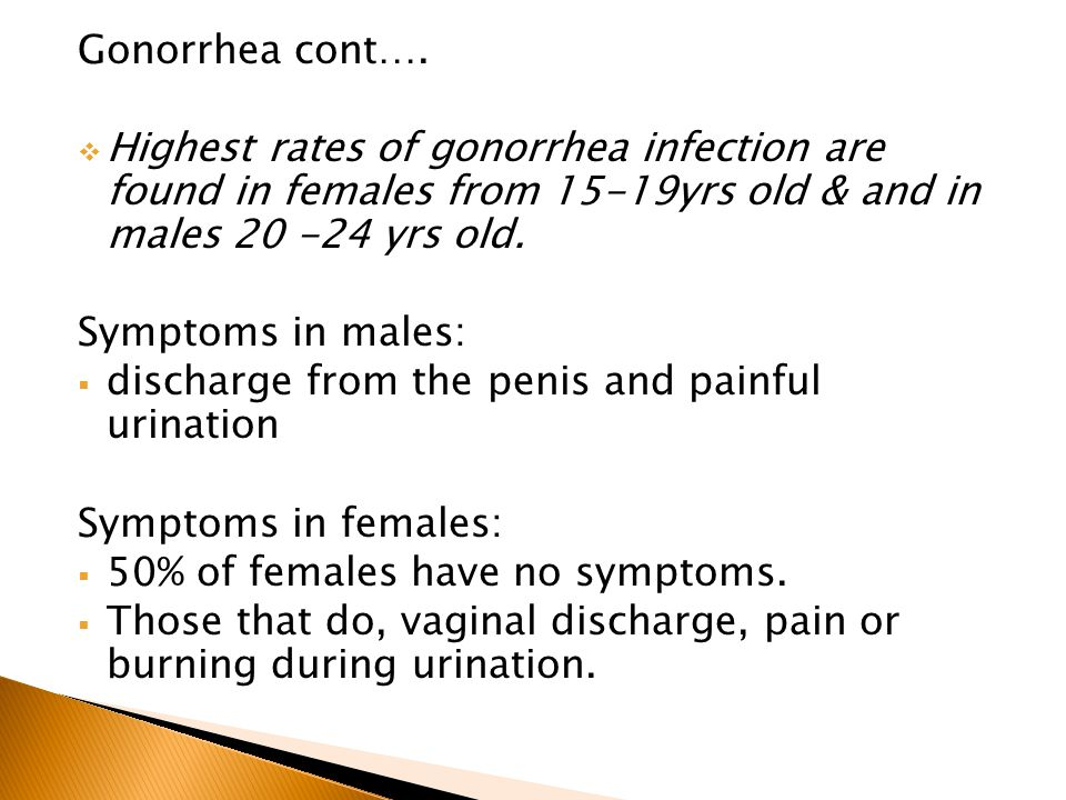 Gonorrhea cont…. Highest rates of gonorrhea infection are found in females from 15-19yrs old & and in males yrs old.